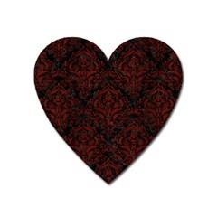 Damask1 Black Marble & Red Wood (r) Heart Magnet by trendistuff