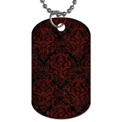 Damask1 Black Marble & Red Wood (r) Dog Tag (one Side) by trendistuff