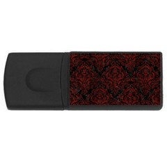 Damask1 Black Marble & Red Wood (r) Rectangular Usb Flash Drive by trendistuff