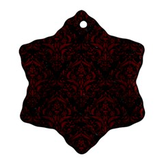 Damask1 Black Marble & Red Wood (r) Snowflake Ornament (two Sides) by trendistuff
