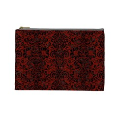 Damask2 Black Marble & Red Wood Cosmetic Bag (large)  by trendistuff