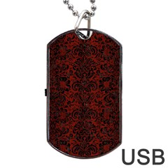 Damask2 Black Marble & Red Wood Dog Tag Usb Flash (two Sides) by trendistuff