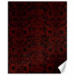 Damask2 Black Marble & Red Wood (r) Canvas 16  X 20   by trendistuff