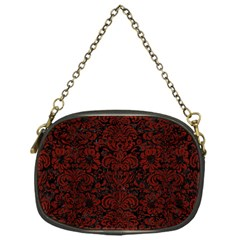 Damask2 Black Marble & Red Wood (r) Chain Purses (one Side)  by trendistuff
