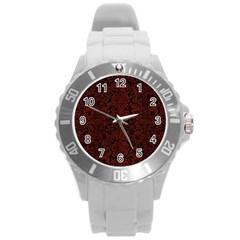 Damask2 Black Marble & Red Wood (r) Round Plastic Sport Watch (l) by trendistuff