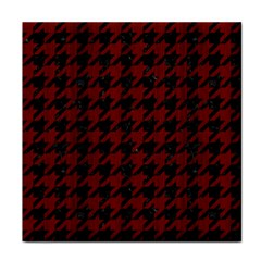 Houndstooth1 Black Marble & Red Wood Tile Coasters by trendistuff