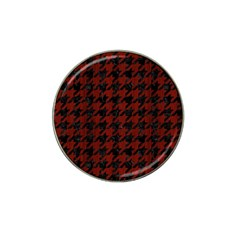 Houndstooth1 Black Marble & Red Wood Hat Clip Ball Marker (4 Pack) by trendistuff
