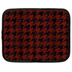 Houndstooth1 Black Marble & Red Wood Netbook Case (xl)  by trendistuff