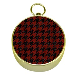 Houndstooth1 Black Marble & Red Wood Gold Compasses by trendistuff