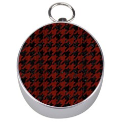 Houndstooth1 Black Marble & Red Wood Silver Compasses by trendistuff
