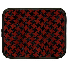 Houndstooth2 Black Marble & Red Wood Netbook Case (xl)  by trendistuff