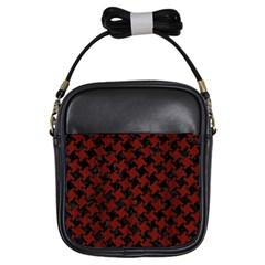 Houndstooth2 Black Marble & Red Wood Girls Sling Bags by trendistuff