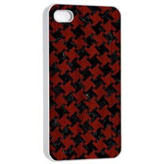 Houndstooth2 Black Marble & Red Wood Apple Iphone 4/4s Seamless Case (white) by trendistuff