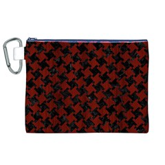 Houndstooth2 Black Marble & Red Wood Canvas Cosmetic Bag (xl) by trendistuff
