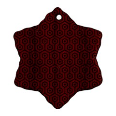 Hexagon1 Black Marble & Red Wood Snowflake Ornament (two Sides) by trendistuff