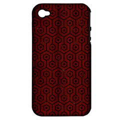 Hexagon1 Black Marble & Red Wood Apple Iphone 4/4s Hardshell Case (pc+silicone) by trendistuff
