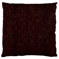Hexagon1 Black Marble & Red Wood (r) Large Cushion Case (one Side) by trendistuff