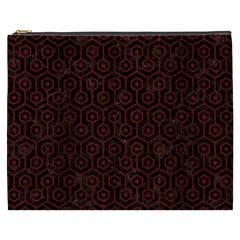 Hexagon1 Black Marble & Red Wood (r) Cosmetic Bag (xxxl)  by trendistuff