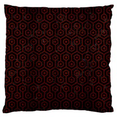 Hexagon1 Black Marble & Red Wood (r) Large Flano Cushion Case (two Sides) by trendistuff