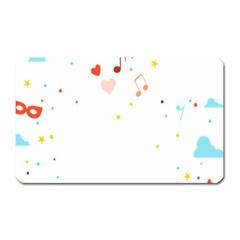 Music Cloud Heart Love Valentine Star Polka Dots Rainbow Mask Sky Magnet (rectangular) by Alisyart