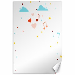 Music Cloud Heart Love Valentine Star Polka Dots Rainbow Mask Sky Canvas 24  X 36  by Alisyart