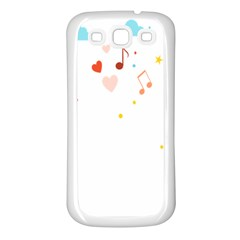 Music Cloud Heart Love Valentine Star Polka Dots Rainbow Mask Sky Samsung Galaxy S3 Back Case (white) by Alisyart