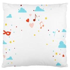 Music Cloud Heart Love Valentine Star Polka Dots Rainbow Mask Sky Large Flano Cushion Case (one Side) by Alisyart