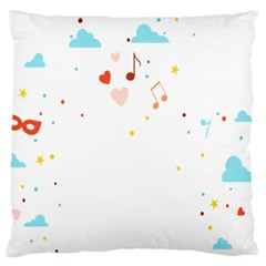 Music Cloud Heart Love Valentine Star Polka Dots Rainbow Mask Sky Large Flano Cushion Case (two Sides) by Alisyart