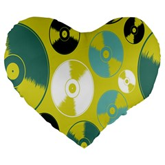 Streaming Forces Music Disc Large 19  Premium Heart Shape Cushions by Alisyart