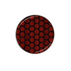 Hexagon2 Black Marble & Red Wood Hat Clip Ball Marker (10 Pack) by trendistuff