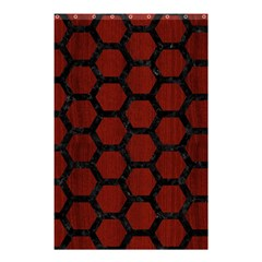 Hexagon2 Black Marble & Red Wood Shower Curtain 48  X 72  (small)  by trendistuff