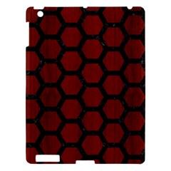 Hexagon2 Black Marble & Red Wood Apple Ipad 3/4 Hardshell Case by trendistuff