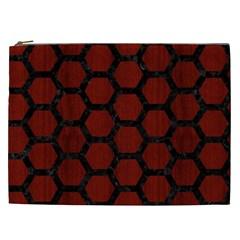 Hexagon2 Black Marble & Red Wood Cosmetic Bag (xxl)  by trendistuff