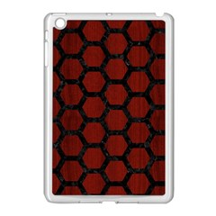 Hexagon2 Black Marble & Red Wood Apple Ipad Mini Case (white) by trendistuff