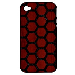 Hexagon2 Black Marble & Red Wood Apple Iphone 4/4s Hardshell Case (pc+silicone) by trendistuff