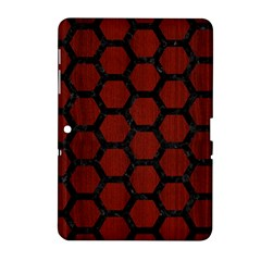 Hexagon2 Black Marble & Red Wood Samsung Galaxy Tab 2 (10 1 ) P5100 Hardshell Case