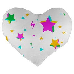 Star Triangle Space Rainbow Large 19  Premium Flano Heart Shape Cushions by Alisyart
