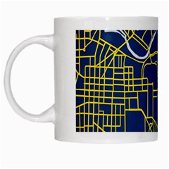 Map Art City Linbe Yellow Blue White Mugs by Alisyart