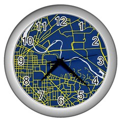 Map Art City Linbe Yellow Blue Wall Clocks (silver)  by Alisyart