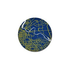Map Art City Linbe Yellow Blue Golf Ball Marker by Alisyart