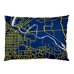 Map Art City Linbe Yellow Blue Pillow Case by Alisyart