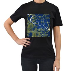 Map Art City Linbe Yellow Blue Women s T Shirt (black) by Alisyart