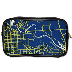 Map Art City Linbe Yellow Blue Toiletries Bags