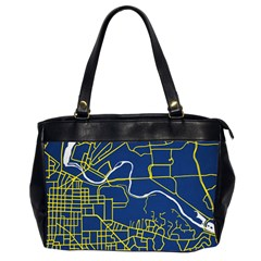 Map Art City Linbe Yellow Blue Office Handbags (2 Sides)  by Alisyart