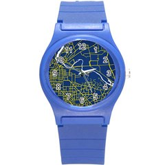 Map Art City Linbe Yellow Blue Round Plastic Sport Watch (s) by Alisyart