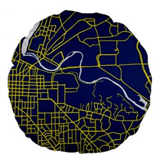 Map Art City Linbe Yellow Blue Large 18  Premium Round Cushions by Alisyart