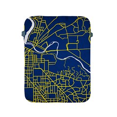 Map Art City Linbe Yellow Blue Apple Ipad 2/3/4 Protective Soft Cases by Alisyart