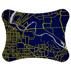 Map Art City Linbe Yellow Blue Jigsaw Puzzle Photo Stand (bow) by Alisyart