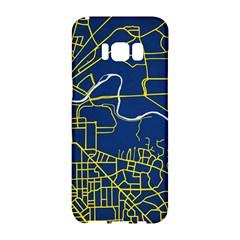 Map Art City Linbe Yellow Blue Samsung Galaxy S8 Hardshell Case  by Alisyart