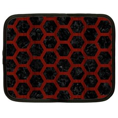 Hexagon2 Black Marble & Red Wood (r) Netbook Case (xl)  by trendistuff